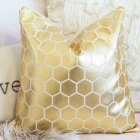 Gold Foil HEXAGON Pillow Cover