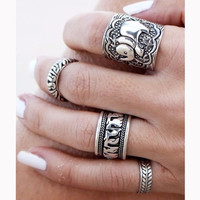 4PCS Vintage Punk Ring Set Carved Antique Silver Elephant Totem Leaf Lucky Rings Jewelry = 5987526785
