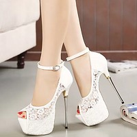 New Fashion Stylish High Heel Lace Korean Princess Sandals High Heels Shoes White