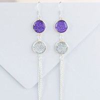 Purple and silver glitter double earrings, dual earrings, glitter earrings, purple glitter, elegant earrings, long earrings