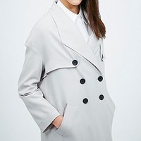 Light Before Dark Crepe Trench Coat in Light Grey - Urban Outfitters