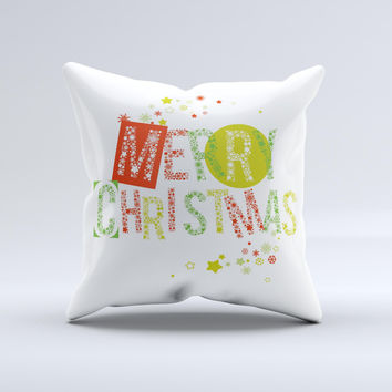 Green and Red Merry Christmas ink-Fuzed Decorative Throw Pillow
