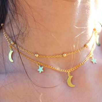 Womens Retro Moon & Stars Choker Necklace + Gift Box