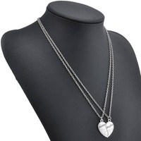 Mother and Daughter Heart Necklace 2Pc Set