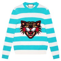 Indie Designs Angry Cat Striped Jumper