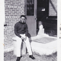 Vintage  Photo African American Man Sitting on Trash Can