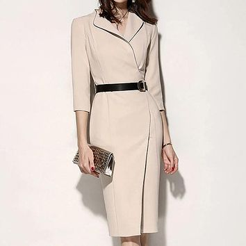 New Office Lady Fashion Turn Down Collar Full Solid Bag Hip Sashes Dresses Women