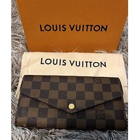 100% authentic Louis Vuitton Sarah Wallet damier ebene