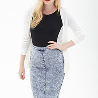 FOREVER 21 Bleached Denim Pencil Skirt Denim Washed