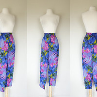 1980's palazzo parachute pants, tropical floral print high waist trousers w/ pockets & elastic waist, summer rayon light weight pants large