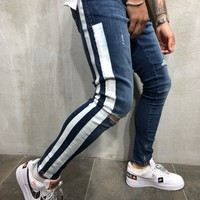 Striped Jeans Ankle Zipper Distressed