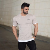 Men cotton Short sleeve gyms t shirt Summer Gyms Fitness Workout T-shirt Male tops Casual clothing
