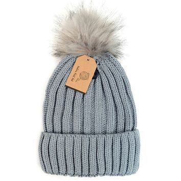Ladies Navy Blue or Grey Fashion Knit Winter Hat w/Fur Pom