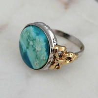 Vintage Clark and Coombs Sterling Silver 10k Gold Filled Turquoise Ring, Size 5.5 - Art Deco Nouveau / Retro Boho Chic / 1930s