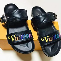 LV Fashion New Multicolor Letter Print Women Flip Flop Slippers Shoes Black