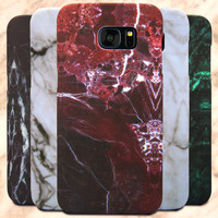 Luxury Marble Pattern phone cases for Samsung Galaxy S7 S7 Edge Classic Style Full protective covers