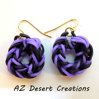 Two Pairs Purple and Black Rubber Band Earrings NON Latex Handmade