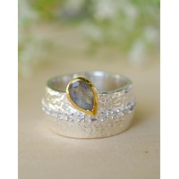 Hannah Ring * Rainbow Labradorite * Sterling Silver 925 and Gold Vermeil * BJR201