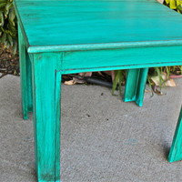 Fabulous Teal Vintage Side Table, Nightstand, End Table by AquaXpressions... Vintage Furniture by Aqua Xpressions