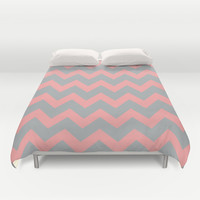 Chevron Gray Coral Pink Duvet Cover by BeautifulHomes   Society6