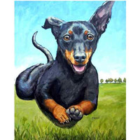 Dachshund Art  Print of Original Acrylic Painting, Black and Tan Doxie Running in air, Flying Doxie, Running dachshund, don't call me weiner