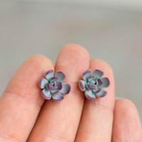 Succulent Plants Stud Earrings in blue and purple color