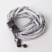 Chain wool and felt scarf. Knitted loop white gray neckwarmer.