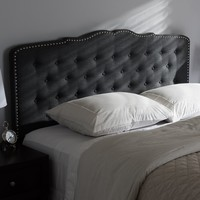 Baxton Studio Lucy Modern and Contemporary Dark Grey Fabric Queen Size Headboard Set of 1