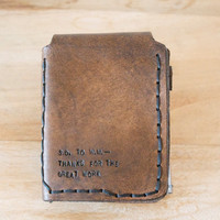 Walter Mitty Leather Wallet - Mens - Made to Order - Customizable - My Text or Yours - Leather - Father's Day