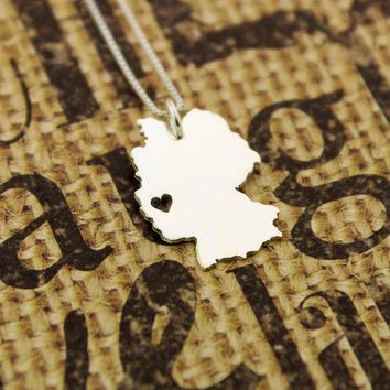Germany necklace sterling silver i love Germany Country necklace with heart comes with Box style chain