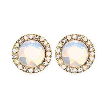 Golden Round Crown Faceted Jeweled Combo WildKlass Ear Stud Earings ( Clear/Aurora Borealis/White)