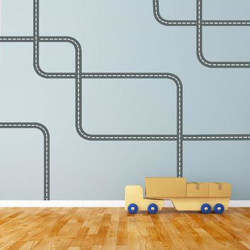 Gray Road Wall Decals with White Lines Curved and Straight, Fabric Wall Stickers