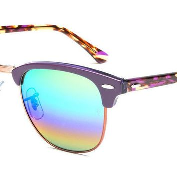 Ray-Ban RB3016 1221C3 51 mm Clubmaster Mineral Green Rainbow Flash Sunglasses