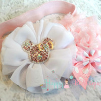 Baby Pink Minnie Mouse Headband, Baby girls headband, Minnie headband, Birthday headband, newborn headbands, baby headbands, Disney heaband