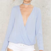 Get It Twisted Plunging Blouse - Blue