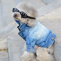 Dog Clothes Denim jacket Fashion Pet Clothes For Yorkshire Chihuahua Teddy Dogs Cowboy Clothing Spring And Autumn Cat Coat Jeans