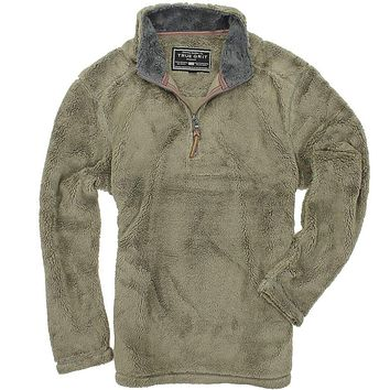 Pebble Pile Pullover 1/2 Zip in Gravel by True Grit
