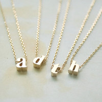 Gold Lowercase Necklace, Initial Necklace, Alphabet Letter Necklace, 3D Gold, Personalized Necklace, One Of A Kind Necklace, Gift Necklace
