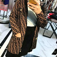 FENDI Classic Fashion Women Casual Jacquard Knit Hooded Zipper Sweater Cardigan Jacket Coat