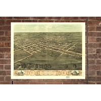 Vintage Marion Print, Aerial Marion Photo, Vintage Marion IA Pic, Old Marion Photo, Marion Iowa Poster, 1868