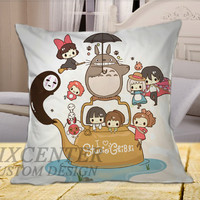 Totoro Studio Ghibli on Square Pillow Cover