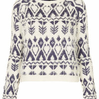 KNITTED FLUFFY FAIRISLE JUMPER