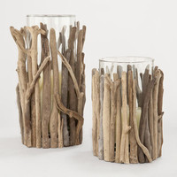 Twisted Driftwood Hurricane Candleholders | World Market