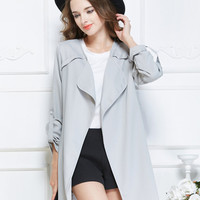 Light Gray Lapel Roll Up Long Sleeve Open Front Trench Coat