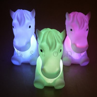 LED Night Light New Year Lamp 2017 Christmas Gift Cute Horse Shape 7 Color Change Decoration Lights