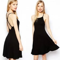 Backless Cross Strap Dress