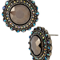 Betsey Johnson Round Crystal Button Stud Earrings