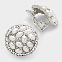 Crystal Pearl Round Clip On Earrings