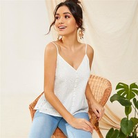 Button Front Schiffy Cami Top Boho White Solid Ruffle Hem Eyelet Embroidery V Neck Spaghetti Strap Vests