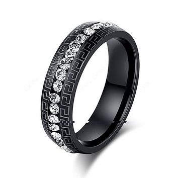 Titanium Stainless Steel Rings Women's Fashion Black Color Wedding Engagement Ring Jewelry